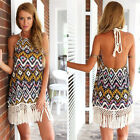 New Women Lady #B Boho Vintage Tassels Dress Spaghetti Strap Backless Elegance