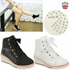 Girls Kids Wedge Trainers Lace Up Pumps Ankle Boots Diamante Sneakers Shoes Size