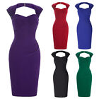 Women Hollowed Back Vintage Crisscross LADY Bodycon Cocktail Dress PLUS Size