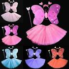 4Pcs Set Kids Girls Fairy Angel Butterfly Wings Headband Skirt Wand Fancy Dress