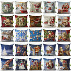 Merry Christmas Print Linen Pillow Case Standard Pillow Cover Home Decor