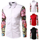 Hot Fashion Men Slim Flower Pattern Print Long Sleeve Buttons Placket Shirt Tops