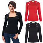 Women's Bolero Style Buttons Embellished Long Sleeve T-Shirt Tops Tee Black Red
