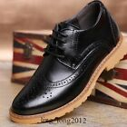 New Mens Brogues Wingtip Faux Leather Formal Lace Up Carved Dress/Casual Shoes