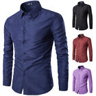 Mens Casual Slim Fit Long Sleeve Dress Shirts Stylish Solid Color Shirt Tops New