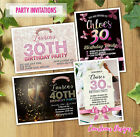Birthday Party Invitations 30th 40th 50th 60th Any Age Personalised + Envelopes