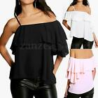 Off Shoulder Spaghetti Strap Ruffles Sleeve Loose Chiffon Blouse Shirt Tops New