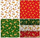 GINGERBREAD MAN CHRISTMAS FABRIC, SNOWFLAKES & HEARTS - PRINTED POLY COTTON