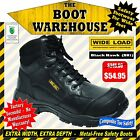 Wide Load Safety Work Boots, 'Black Hawk' (BH1). Extra Wide. Lace-Up.