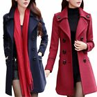 Women\'s Double Breasted Wool Trench Coat Slim Long Jacket Warm Overcoat Outwear