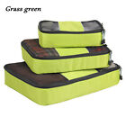 Portable Travel Packing Cubes 3PCS Clothes Storage Bags Luggage Organizer Pouch