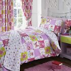 Patchwork Pink Girls Kids Bedding Curtains Bedspread Single Double Duvet Cover