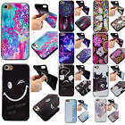 Black Back Colorful Pattern Case For iPhone Samsung Huawei Soft TPU Rubber Cover