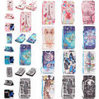 For Apple iPhone Colored Drawing Leather With Strap Stand Card Purse Case Cover