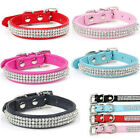 Bling Rhinestone PU Leather Crystal Diamond Collar Pet Dog Puppy Cat Collar XS L
