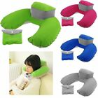 Inflatable Neck Travel Pillow Rest Compact Air Cushion w/ Bag Car Plane Flight