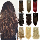 100% Real Thick Clip In Hair Extensions Long Curly Full Head Hair Extentions g98