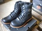 NEW Harley Davidson Mens Leather Logger Boots Shoes Medium Black Tyson