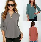 Lady Blouse Plus Size Casual Women Long Sleeve V-neck Loose T-shirt Chiffon Tee