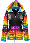 Women Multi Colour Patchwork Pixie Hood Jacket,Raibow Pattern Long Sleeves,Hippy