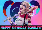 HARLEY QUINN SUICIDE SQUAD Birthday Party Cake Decoration icing sheet custom