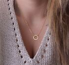 Fashion Women Simple Circle Ring Pendant Jewelry Choker Chain Necklace