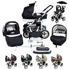 Baby Pram Stroller Buggy Pushchair Silver Kunert Car seat + Umbrella  Air wheels