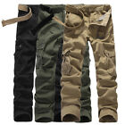 Men's Combat Cotton Cargo Pants Military Camouflage Camo Trousers ARMY GREEN NEW