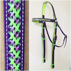 Barcoo/Stockmans Bridle - Mac Tack - PVC Horse Bridle - Purple & Fluro Green