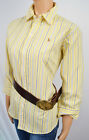 RALPH LAUREN YELLOW BLUE STRIPES SLIM FIT OXFORD SHIRT 3/4 SLEEVE NWT 6 10