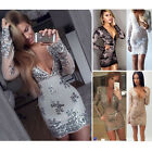 Sexy Womens Bodycon Sequins Deep V-Neck Bandage Club Cocktail Party Mini Dress