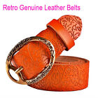 high quality cow women embossing leather belts for women strap female pin buckle