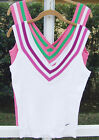 NIKE DRY FIT WOMENS TENNIS TOP NYLON SPANDEX WHITE - PINK MULTI  BLOUSE M NEW