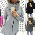 New Women Winter Oversize Zip Up Hoodies Ladies Long Sleeve Jacket Coat Parka