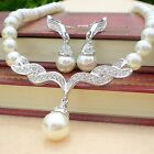 Women Lady Wedding Bridal Crystal Pearl Rhinestone Necklace Earrings Jewelry Set