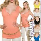 NEW SEXY LADIES CASUAL TOPS S M L HOT sleeveless SHIRTS 8 10 12 ribbed top lady