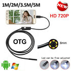 HD 720P 8mm Waterproof Endoscope Android USB Inspection Camera 6 LED 3.5/1/2/5M