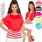 NEW SEXY short SLIT SLEEVE TOPS girls BAGGY BATWING TOP S M L XL striped shirt
