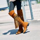 Fashion Womens Casual Tassel Fringe Over Knee High Boots Round Toe Pull On Shoes