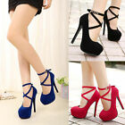 New Fashion Womens Ankle Strap Platform Stiletto Pumps Suede High Heels Shoes