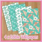 WPS06 Green leaves flowers shabby floral themed 4 x A4 sheets edible wallpaper
