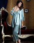 Stylish Silk Blend 3pcs Women Lady Sleepwear/sleepcoat/pajamas sets M/L/XL/2XL
