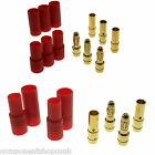 HXT 3.5mm - 4mm Gold Bullet 2-3 Way RC Connectors with Red Housing UK Seller