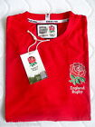 S or L OFFICIAL ENGLAND RUGBY T SHIRT RED jersey RFU Mens Cotton
