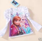 Frozen Dress Elsa Anna T Shirt White Long Sleeve Cotton  FREE WORLDWIDE DELIVERY