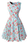 Vintage Cotton Sleeveless Prom Dresses Floral Print Rockabilly 1950s Retro Dress