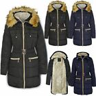 New Womens Ladies Fur Trimmed Hooded Padded Puffer Parka Winter Jacket Coat Size