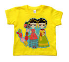 Mexican Folk Art Frida Yellow Day of the Dead Baby Girl Toddler Tops Shirt