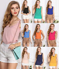 Fashion Womens Summer Slim Casual Chiffon Sleeveless Shirt Vest Tops Tank Blouse