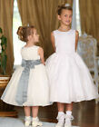 5378 WHITE SATIN AND ORGANZA FLOWER GIRL DRESS WITH BUTTON BACK AGE 3-4
